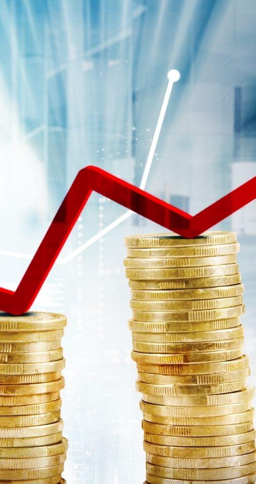 érmékből álló növekedési grafikonok